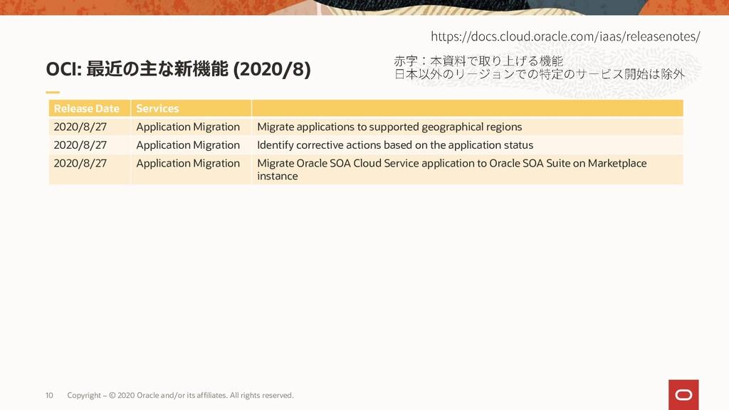 OCI: 最近の主な新機能 (2020/8) 10 Copyright – © 2020 Or...