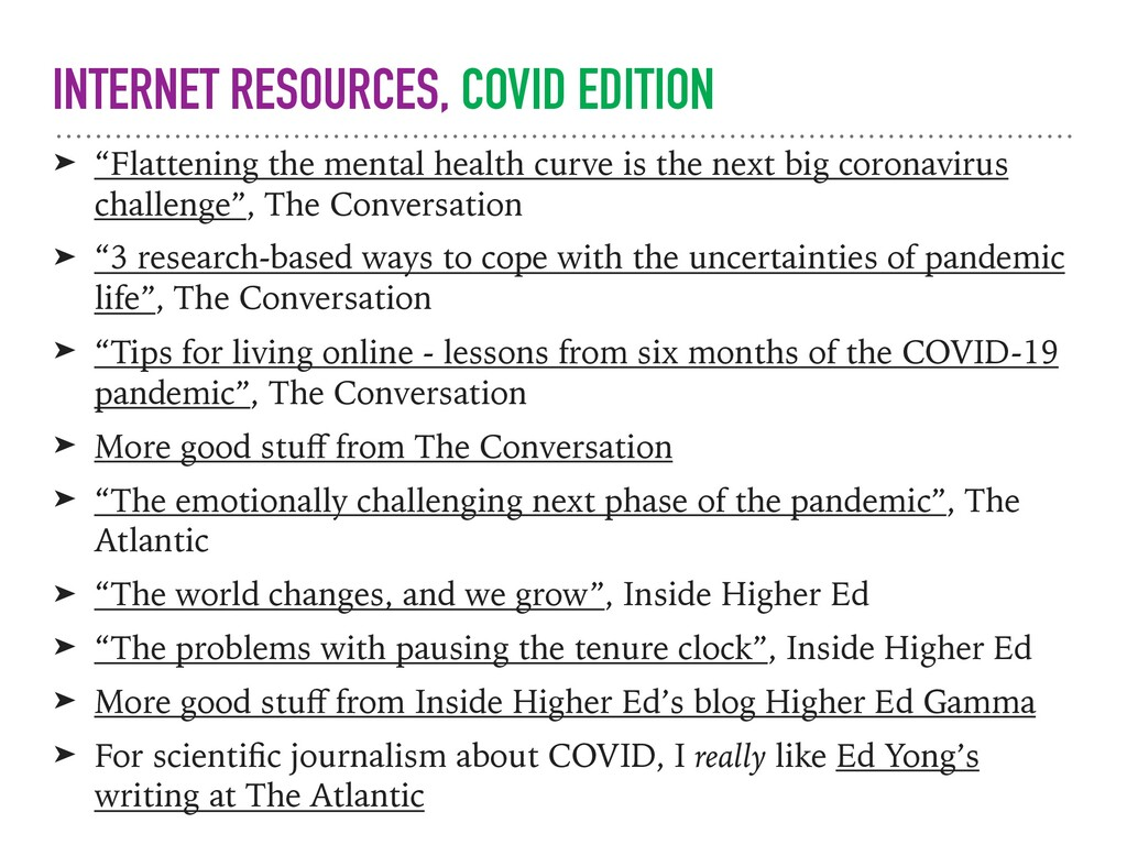 "INTERNET RESOURCES, COVID EDITION ➤ ""Flattening..."