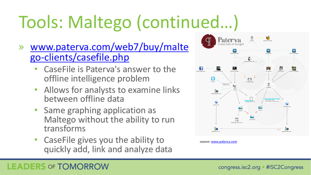 Tools: Maltego (continued…) » www.paterva.com/w...