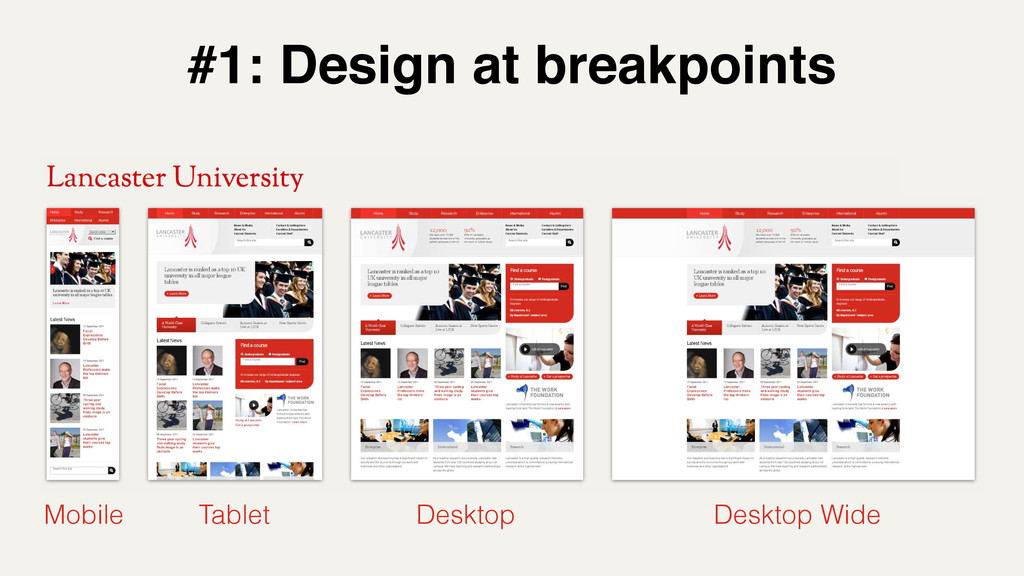 #1: Design at breakpoints Mobile Tablet Desktop...