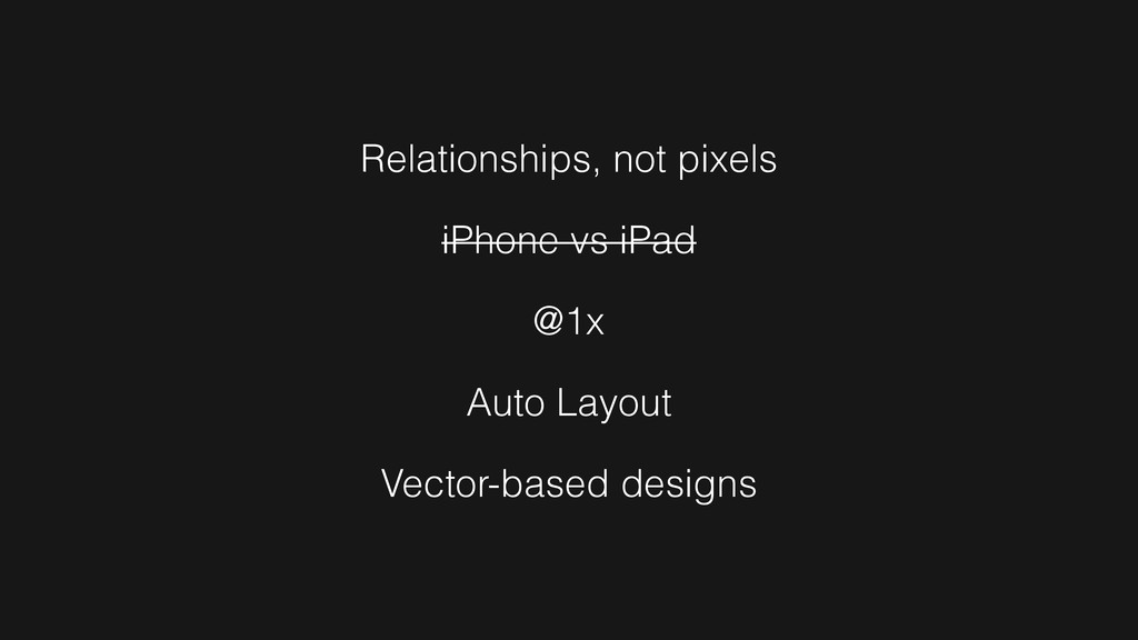 Relationships, not pixels iPhone vs iPad @1x Au...