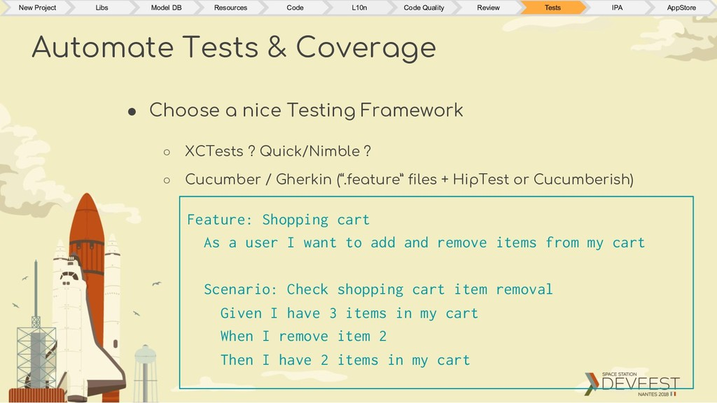 ● Choose a nice Testing Framework ○ XCTests ? Q...