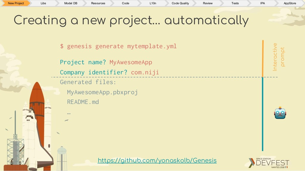 Creating a new project… automatically $ genesis...