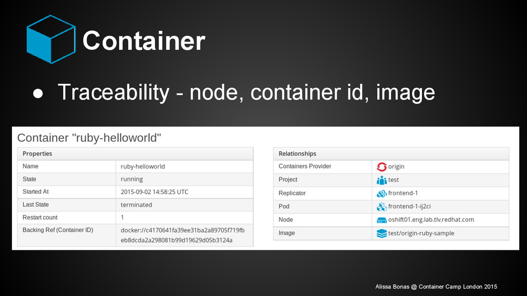Container ● Traceability - node, container id, ...