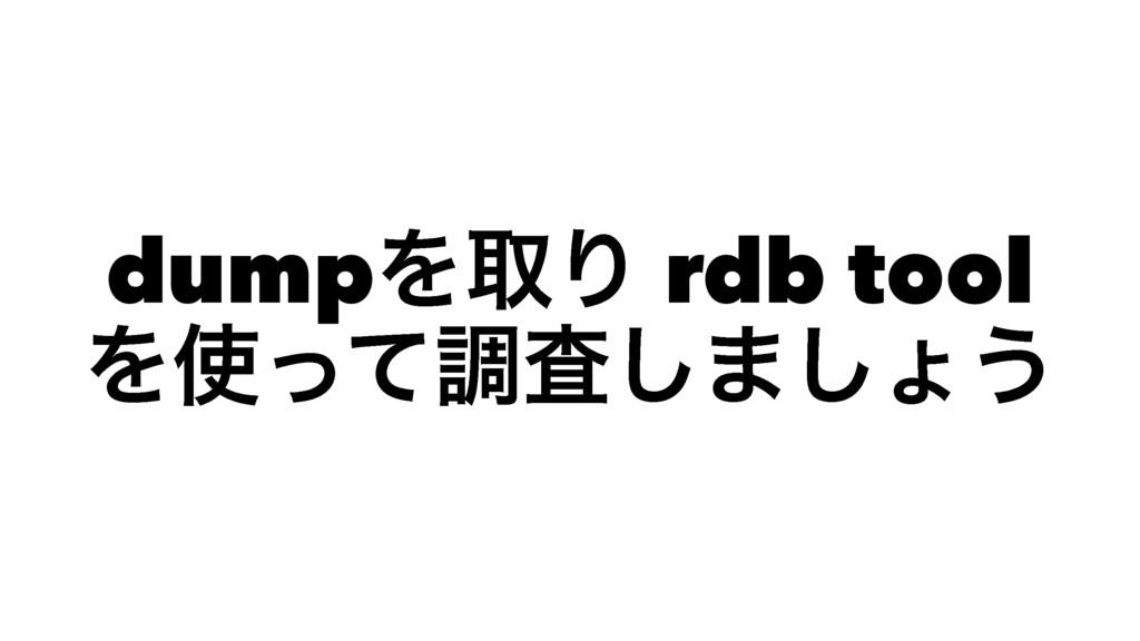dumpΛऔΓ rdb tool Λͬͯௐࠪ͠·͠ΐ͏