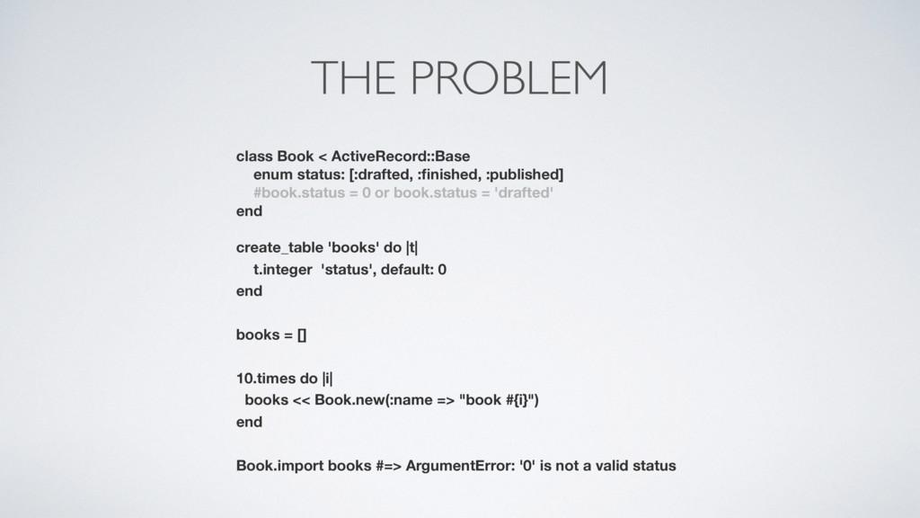THE PROBLEM class Book < ActiveRecord::Base enu...