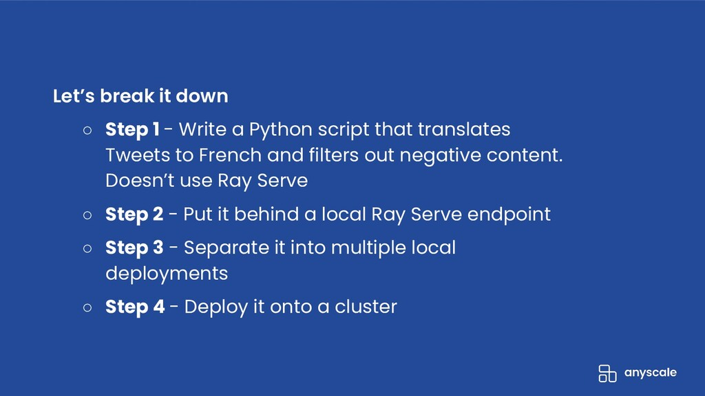 ● Deploy a trained Python model and scale it to...