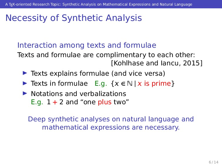 A TEX-oriented Research Topic: Synthetic Analys...