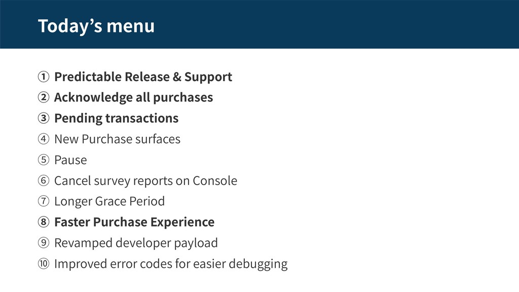 Today s menu Predictable Release & Support Ackn...
