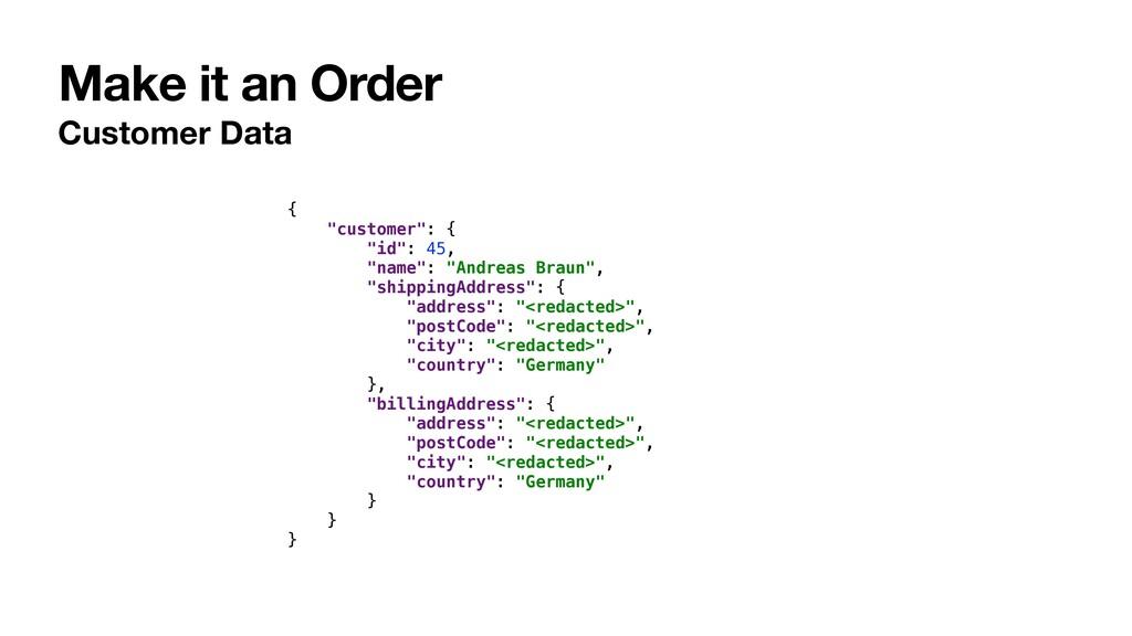 """Make it an Order Customer Data { """"customer"""": { ..."""