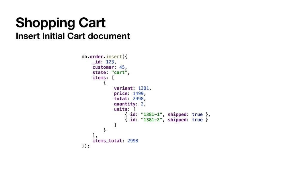 Shopping Cart Insert Initial Cart document db.o...