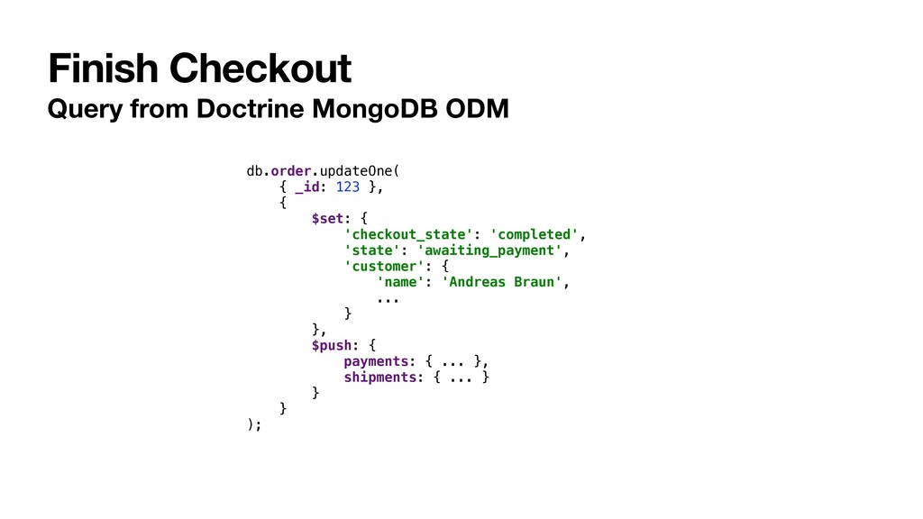 Finish Checkout Query from Doctrine MongoDB ODM...