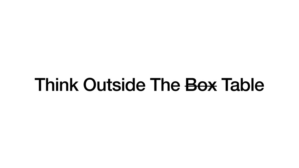 Think Outside The Box Table