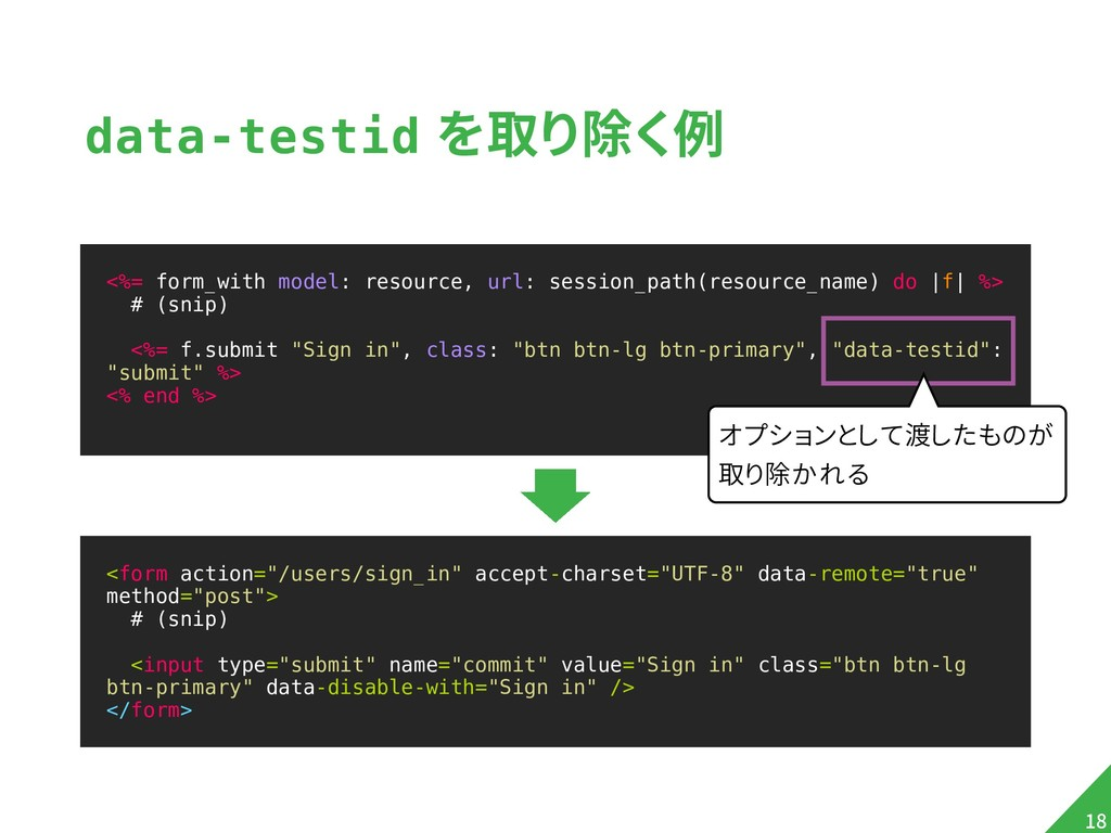 """data-testid を取り除く例 <form action=""""/users/sign_in..."""