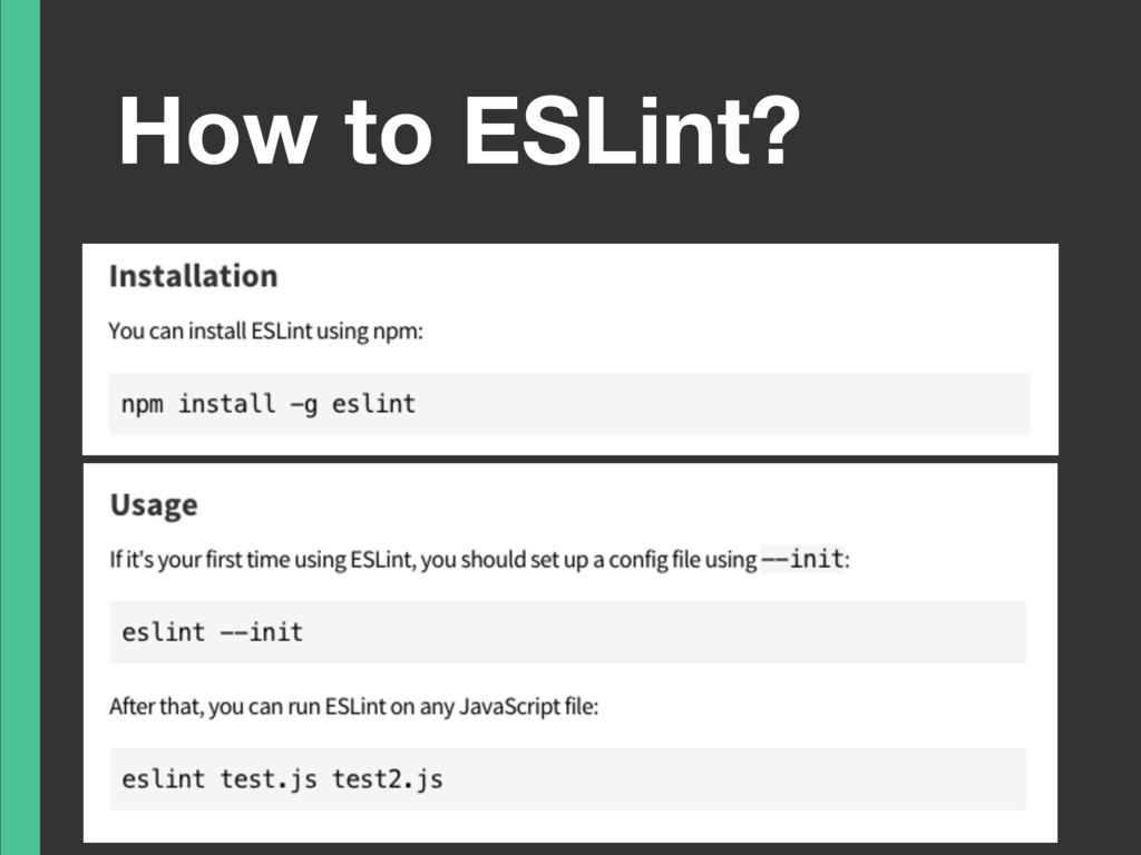 How to ESLint?