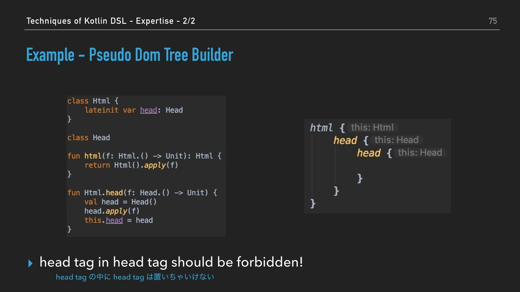 Example - Pseudo Dom Tree Builder ▸ head tag in...