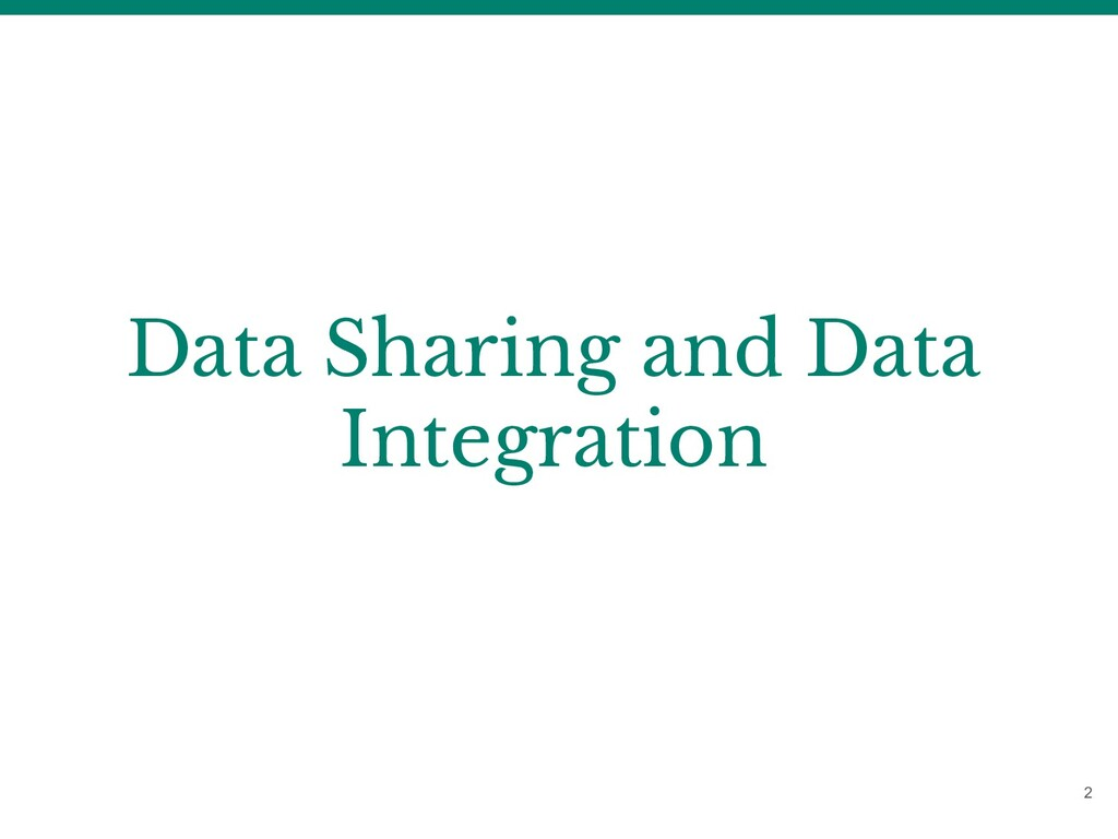 Data Sharing and Data Integration 2