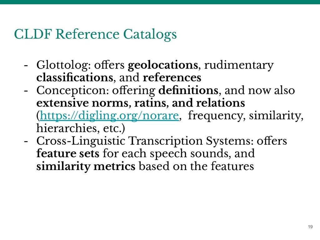 19 CLDF Reference Catalogs - Glottolog: offers g...