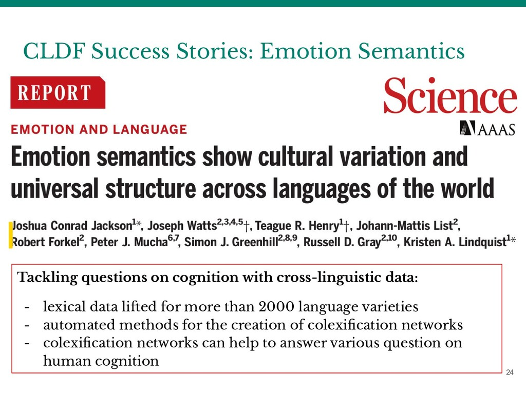 CLDF Success Stories: Emotion Semantics 24 Tack...
