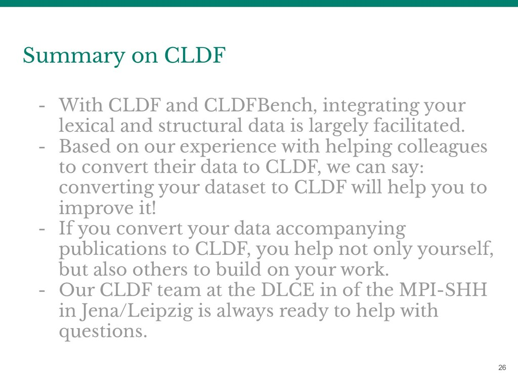 26 Summary on CLDF - With CLDF and CLDFBench, i...