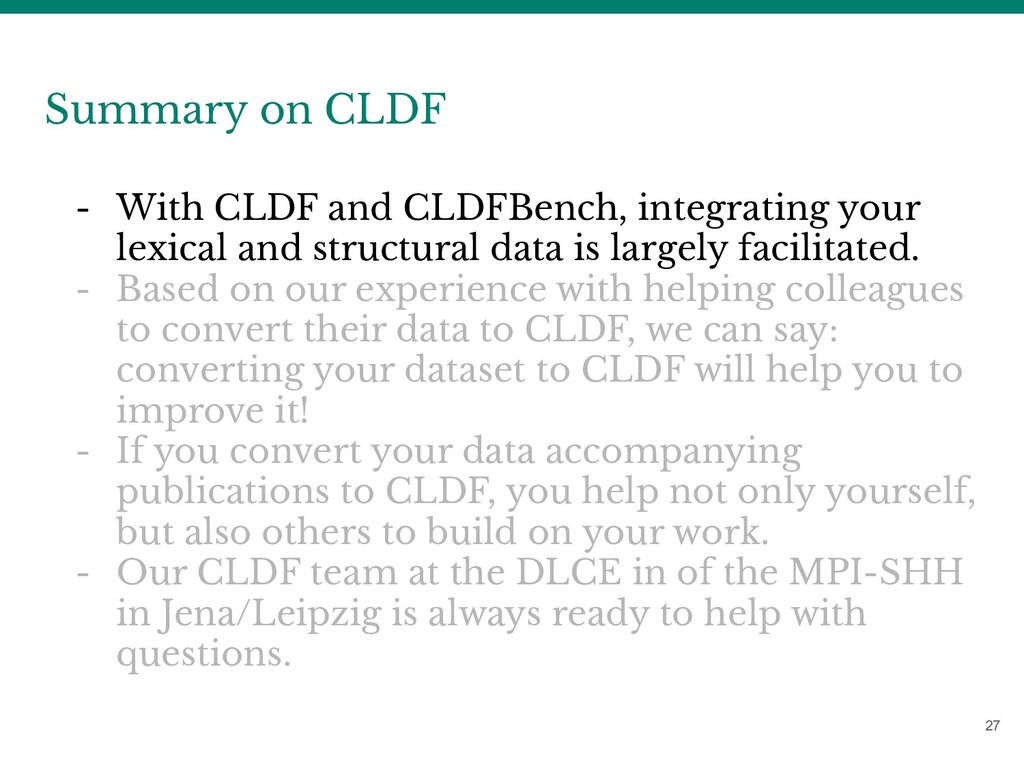 27 Summary on CLDF - With CLDF and CLDFBench, i...