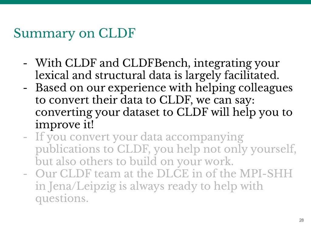 28 Summary on CLDF - With CLDF and CLDFBench, i...