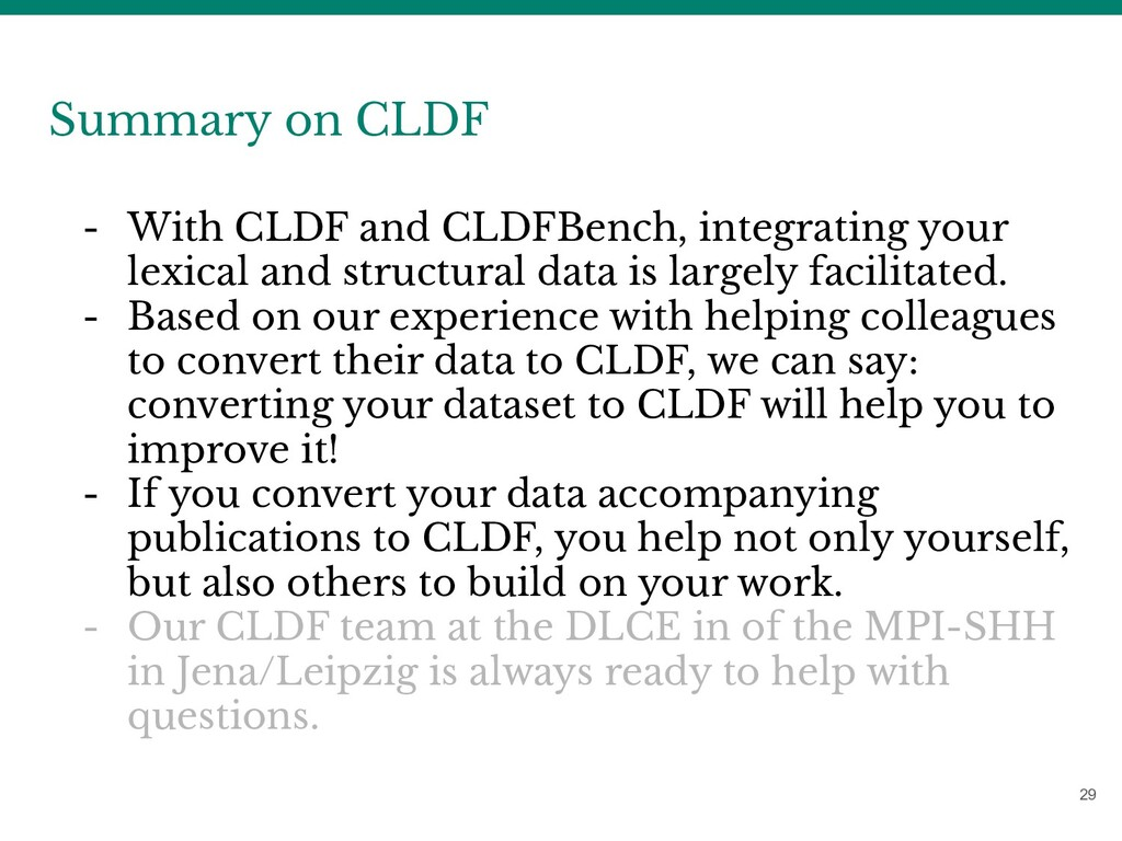 29 Summary on CLDF - With CLDF and CLDFBench, i...
