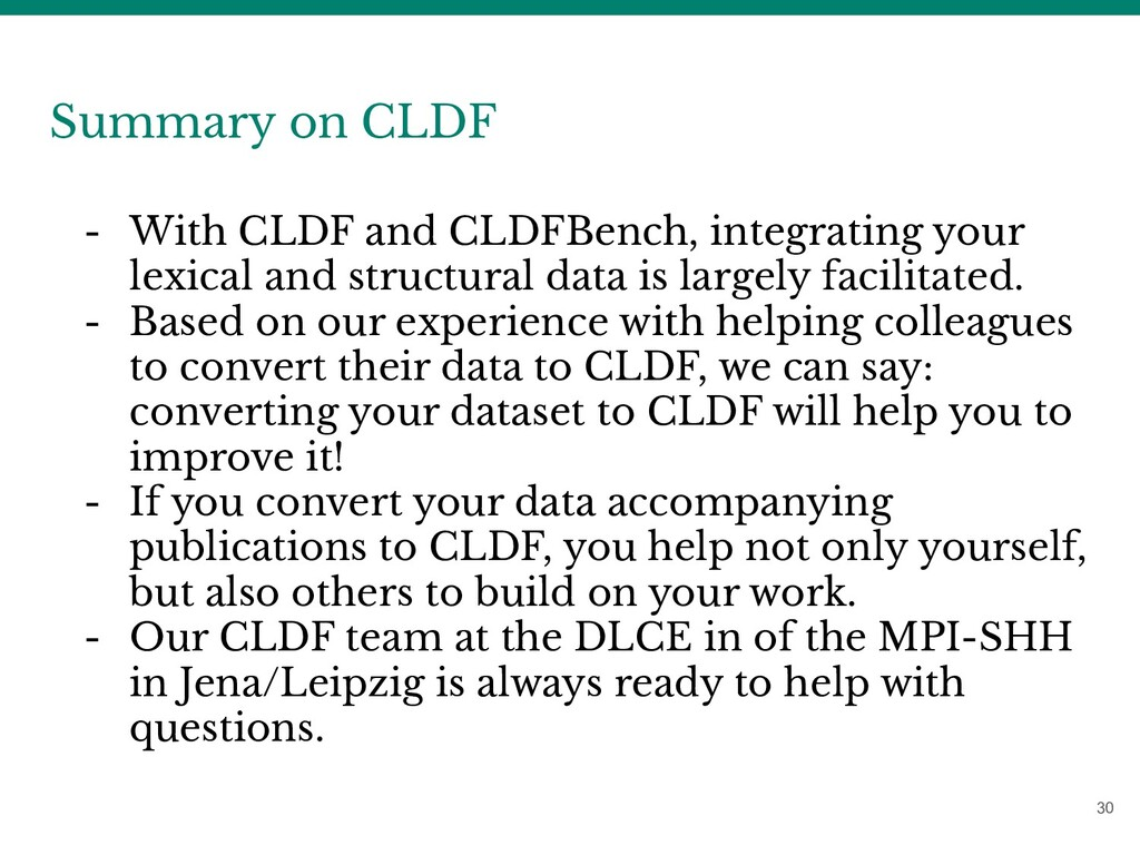 30 Summary on CLDF - With CLDF and CLDFBench, i...