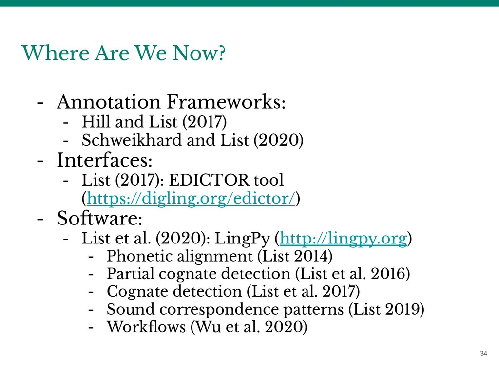 34 Where Are We Now? - Annotation Frameworks: -...
