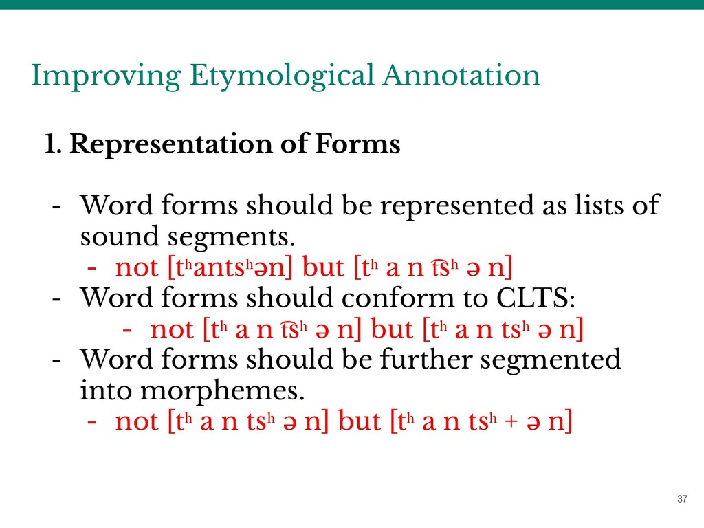37 Improving Etymological Annotation 1. Represe...