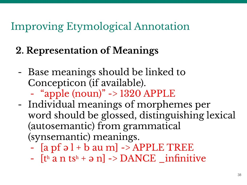 38 Improving Etymological Annotation 2. Represe...