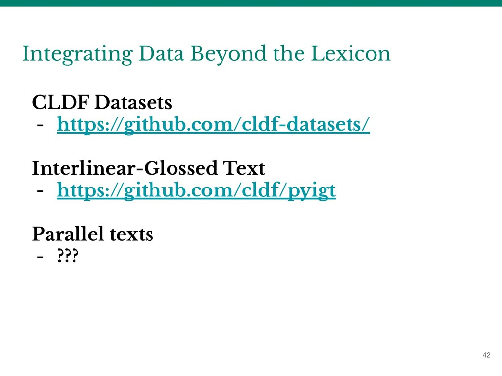 42 Integrating Data Beyond the Lexicon CLDF Dat...