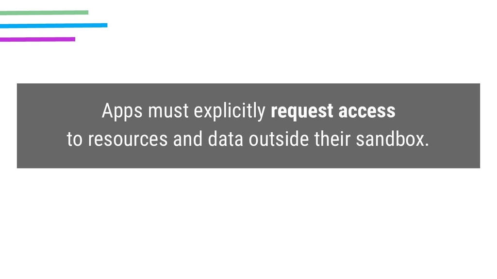 Apps must explicitly request access to resource...