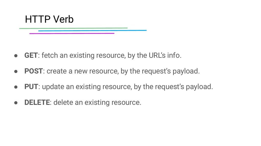 HTTP Verb ● GET: fetch an existing resource, by...
