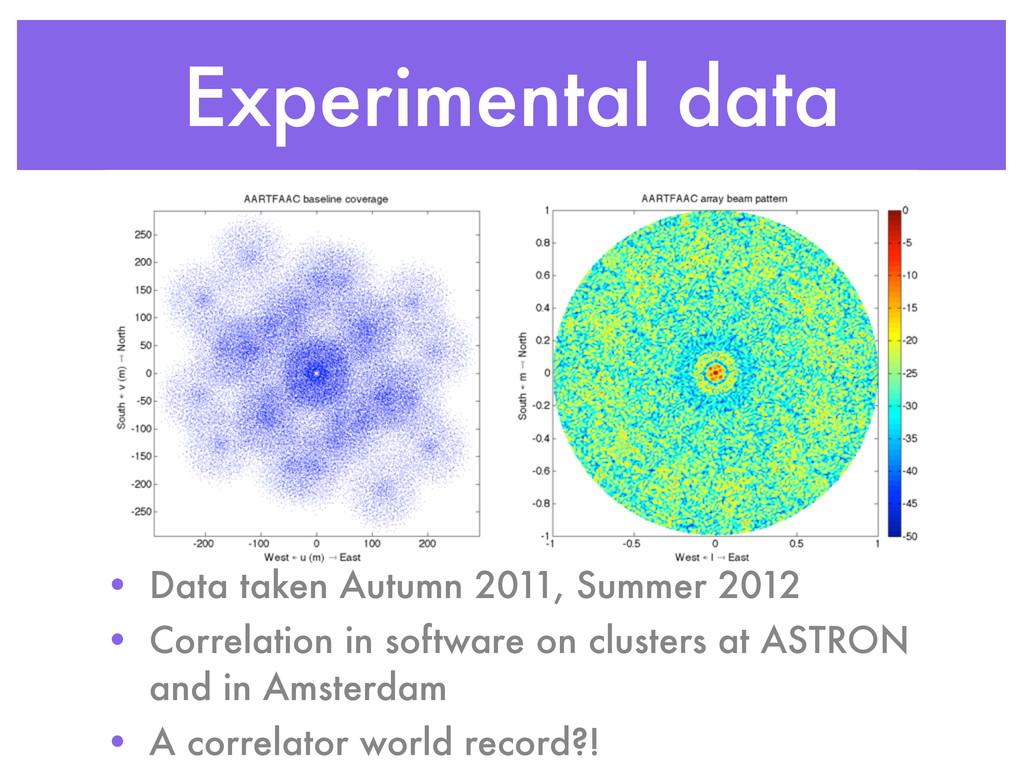 Experimental data • Data taken Autumn 2011, Sum...