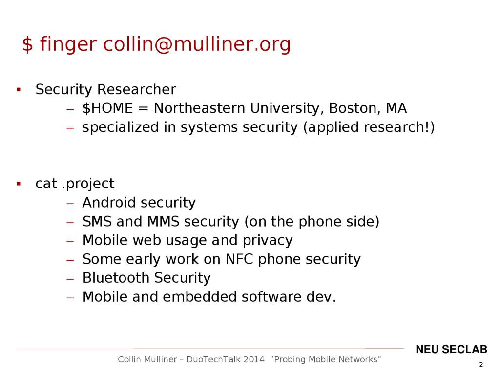 "2 Collin Mulliner – DuoTechTalk 2014 ""Probing M..."