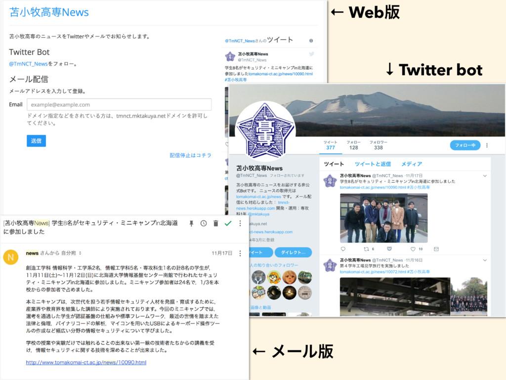 ← Web൛ ↓ Twitter bot ← ϝʔϧ൛