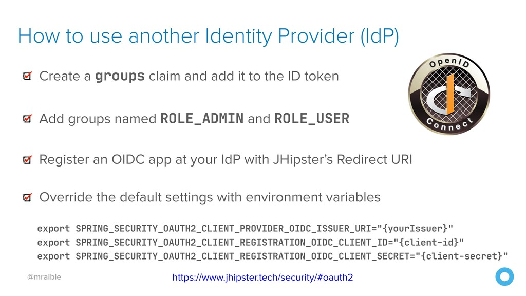 @mraible How to use another Identity Provider (...