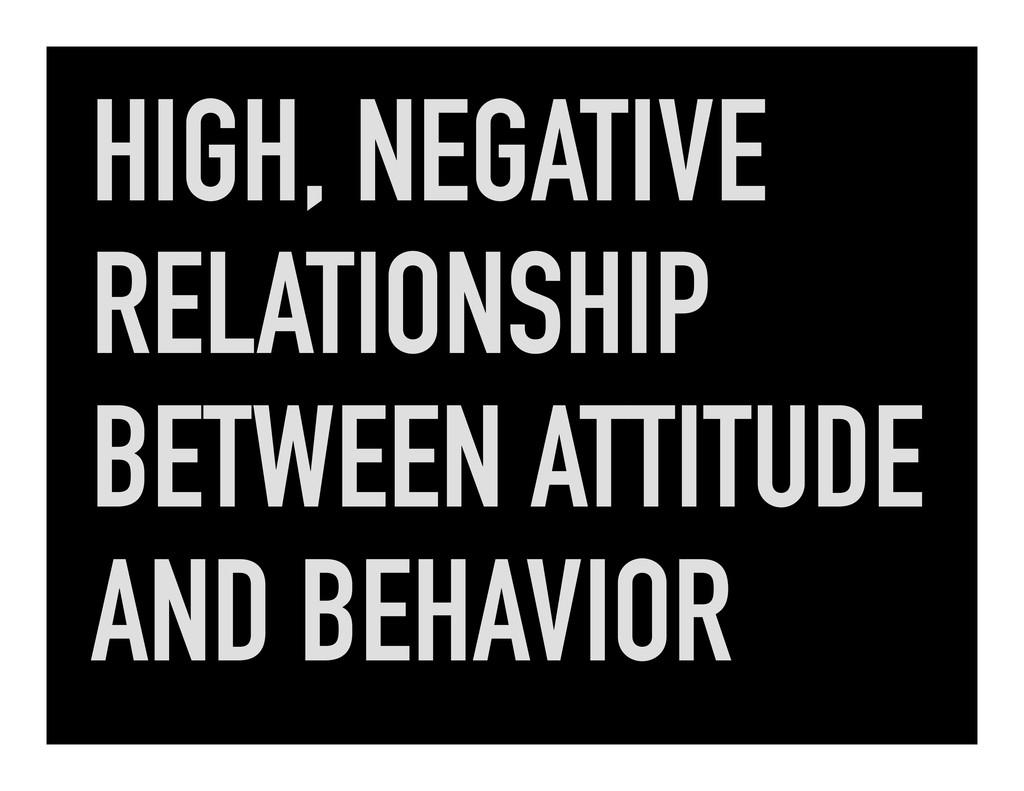 HIGH, NEGATIVE RELATIONSHIP BETWEEN ATTITUDE AN...