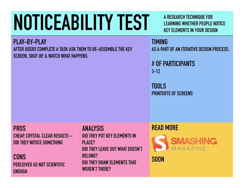 NOTICEABILITY TEST A RESEARCH TECHNIQUE FOR LEA...