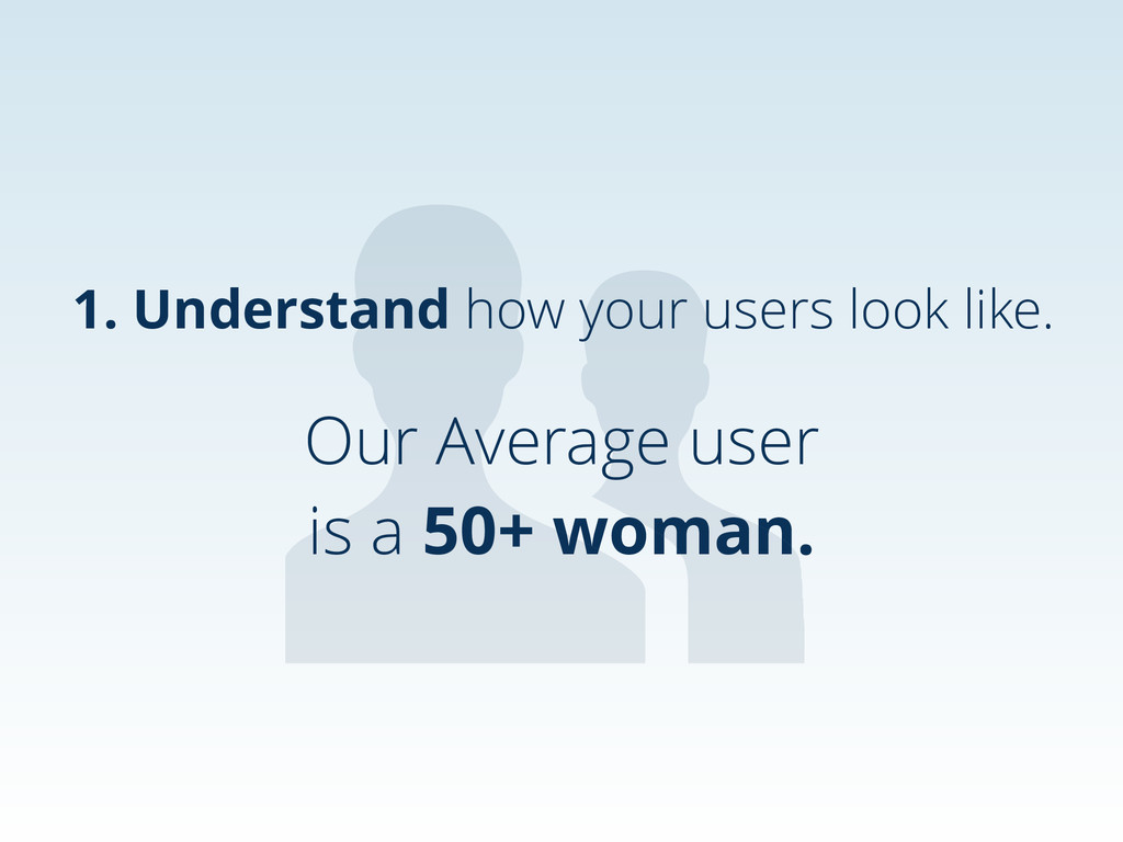 Our Average user is a 50+ woman. 1. Understand ...