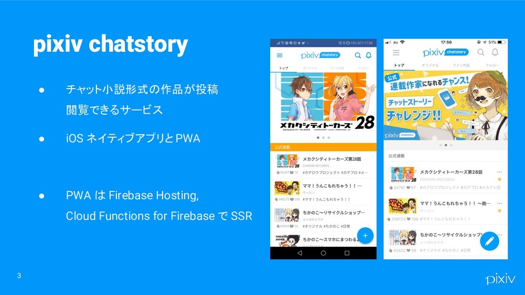 3 pixiv chatstory ● チャット小説形式の作品が投稿 閲覧できるサービス ● ...
