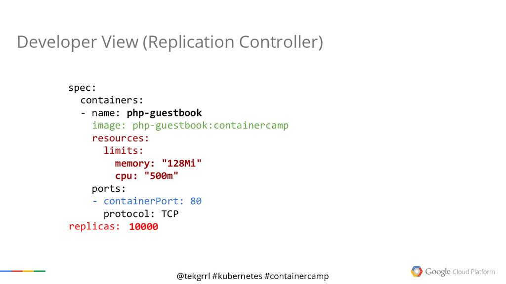 @tekgrrl #kubernetes #containercamp Developer V...