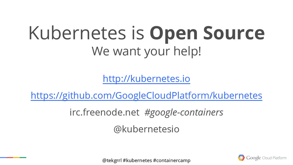 @tekgrrl #kubernetes #containercamp Kubernetes ...
