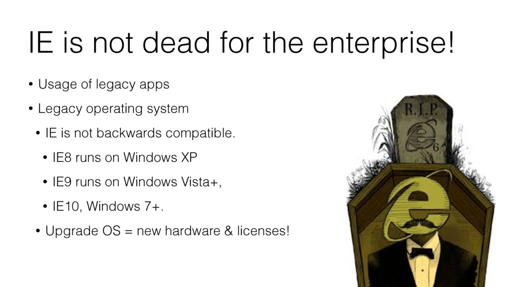 IE is not dead for the enterprise! • Usage of l...