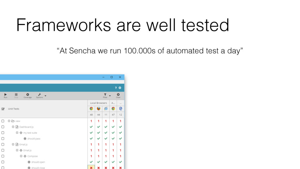 "Frameworks are well tested ""At Sencha we run 10..."