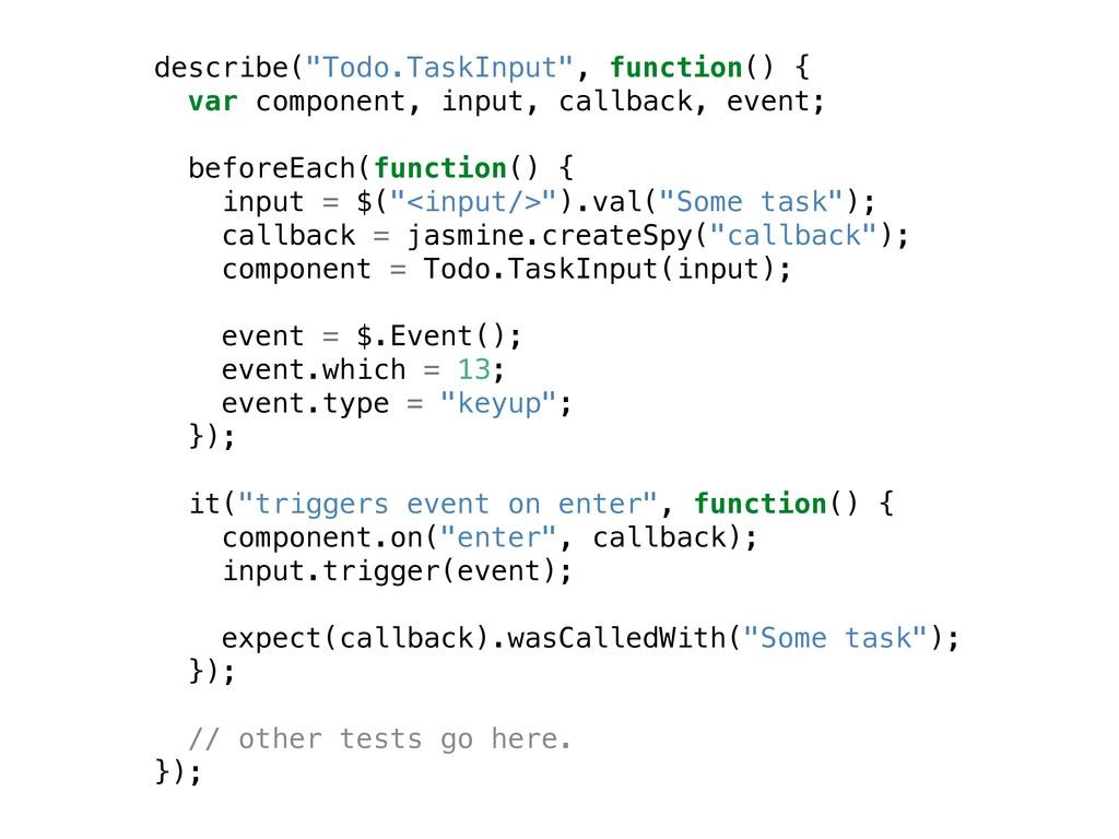 "describe(""Todo.TaskInput"", function() { var com..."