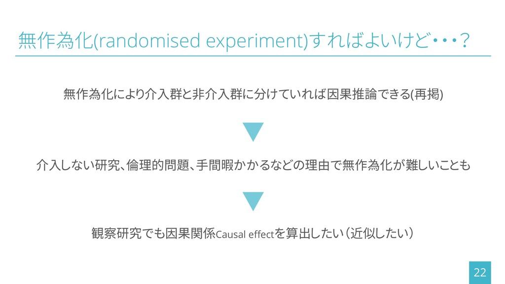 無作為化(randomised experiment)すればよいけど・・・? 無作為化により介...