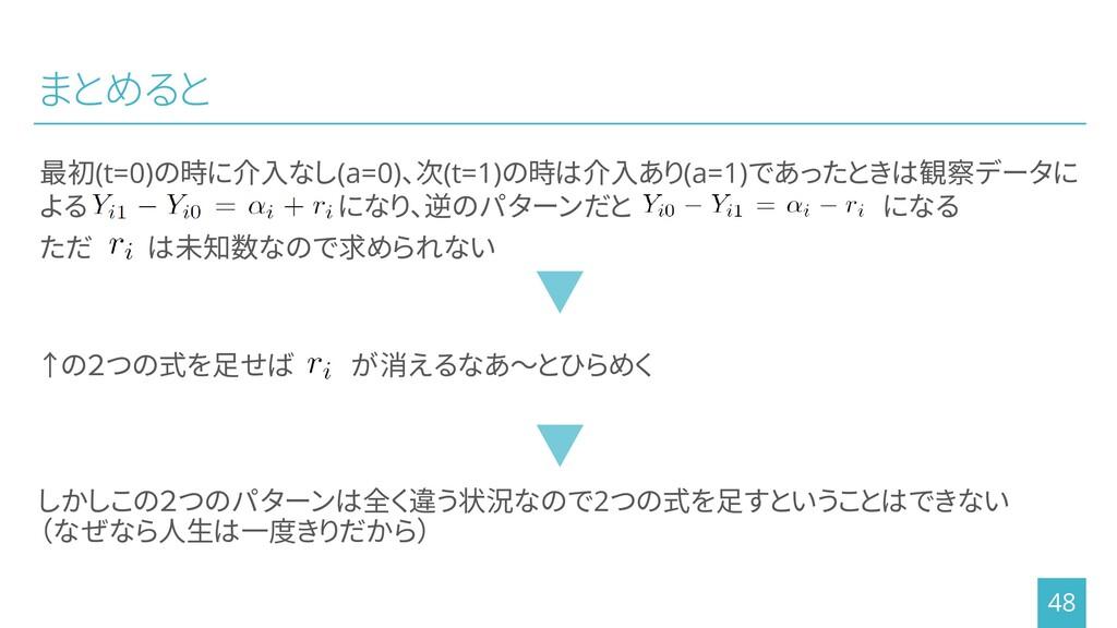 まとめると 最初(t=0)の時に介入なし(a=0)、次(t=1)の時は介入あり(a=1)であっ...