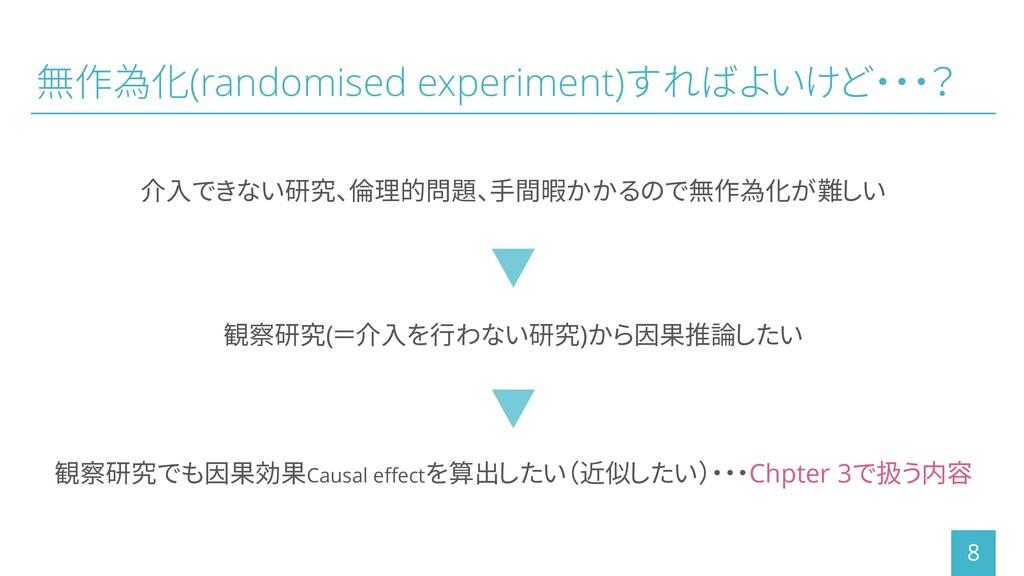 無作為化(randomised experiment)すればよいけど・・・? 介入できない研究...